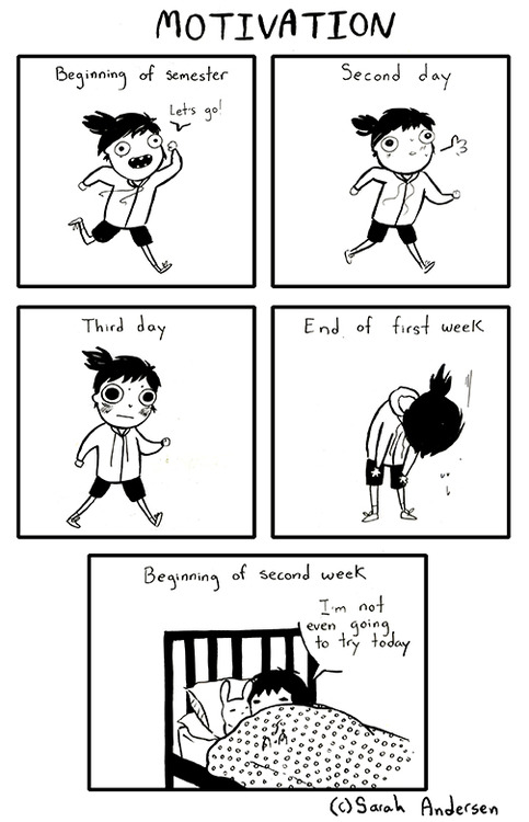 Happy Freshers' Week! Good Start into the Semester!  (Comic by Sarah See Andersen)